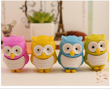10 pcs per lot Super Discount Novelty 3D Owl Shape Rubber Eraser Creative Kawaii Stationery School Supplies