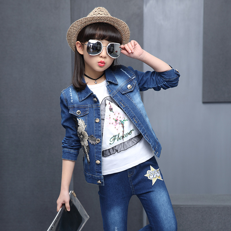 Hot girl denim, three piece set, 4-13 year old children cotton print T-shirt  three-dimensional embroidered Golden Flower Suite<br>
