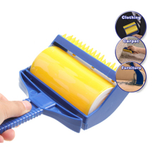 High Quality Rubber Cleaner Brush Roller Reusable Sticky Buddy Picker Catcher Lint Sticking Roller Built-in Fingers Brush(China)