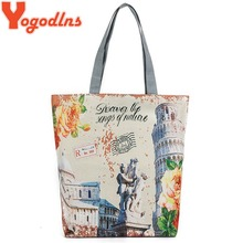 Yogodlns New Women Printing Handbags Fashion London Tower Simple Style Vintage Zipper Bags For Shopping Women Shoulder Bags