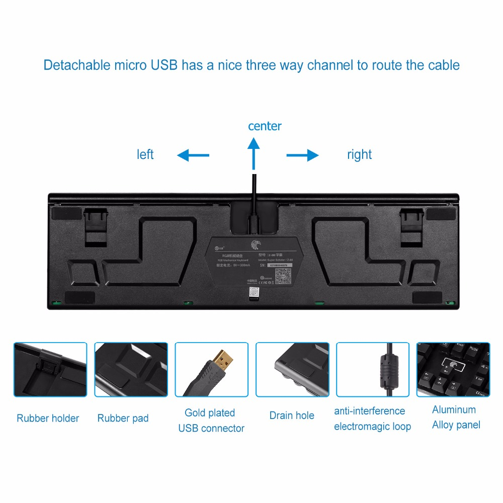 8. detachable cable mechanical keyboards