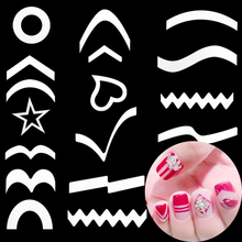 10pcs/15pcs/24pcs/Lot DIY Nails art Sticker Guides French Nail Decals Form Fringe Styling Finger toes Beauty Tips Tool(China)
