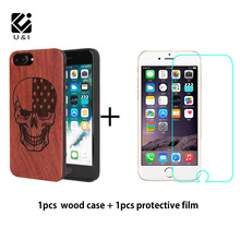 U&I Brand Wood Phone Case For iPhone 5 5s 6 6s 7 6plus 6splus Carving Natural Wood Shockproof Hard Cover With Protective film(China)