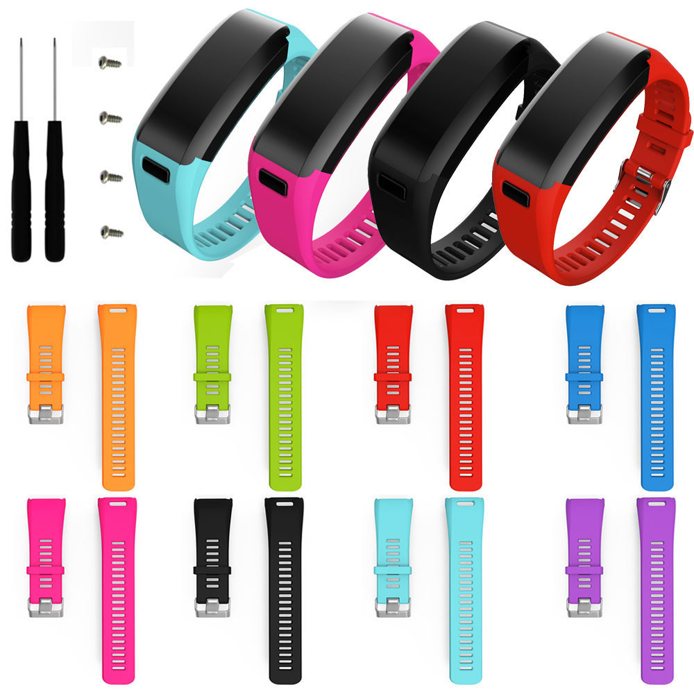 2017 Hot Popluar watchbands Staps 8 candy color Fashion Sports Silicone Band Strap Bracelet + Tool For Garmin Vivosmart HR<br><br>Aliexpress