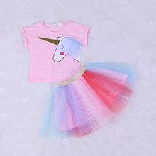 Girls Clothing Sets New summer fashion Children Cartoon short sleeved T-shirt+multicolor mesh tutu skirt Kids Suit 2pcs(China)