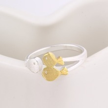 925 Sterling Silver Gold Fish Rings For Women New Design Lovely Girls Jewelry Gift Christmas Gift Adjustable Size Ring y43