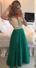 Fitted V Neck Evening Gowns Shopping Sales Online vestidos de festa Green Lace Long Evening Dress 2016 Pearls Waist L06