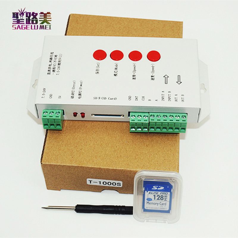 T1000S 2048 Pixels DMX 512 Controller SD Card WS2801 WS2811 WS2812B LPD6803 LED Strip DC5V 24V T-1000S RGB full color Controller(China (Mainland))