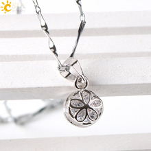 CSJA Round Small Lovely Carved Flower Zircon Gem Stone Pendant Necklace Twist Chain for Women Office Lady Girls Jewelry E362