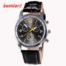 Sunward Relogio Masculino Luxury Fashion Crocodile Faux Leather Mens Analog Watch Wrist Watches Horloge 17Apr28