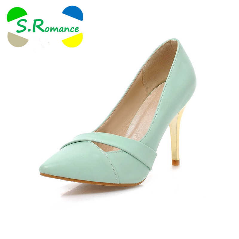 S.Romance Plus Size 32-43 Fashion Sexy Pointed Toe Sweet Solid Colorful Thin 73e1dcaf026b