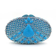 woman designer inspired handbags peacock female evening clutch ladies luxury gift box bag blue party purses rhinestone hand bags(China)
