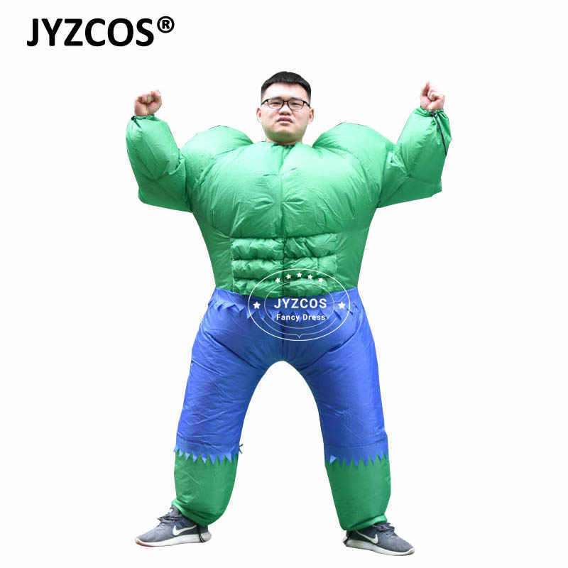 Adult Mens Ladies Inflatable Hulk Green Muscle Man Fancy Dress Costume Outfit