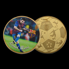 WR Lionel Messi Super Sports Star Fan Challenge 24k Pure Gold Coin Commemorative Crafts for Man Gifts Collectible Souvenir(China)