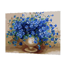 WONZOM Blue Flower Oil Painting By Numbers DIY Abstract Digital Picture Coloring By Numbers On Canvas Unique Gift For Home 2017(China)