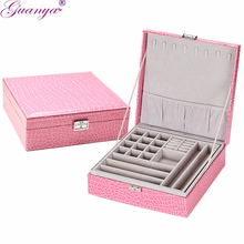 Guanya Brand Leather Storage Boxes Square Shape Wood Jewelry Box Wedding Gift Makeup Storage Bin Earrings Ring Organizer(China)