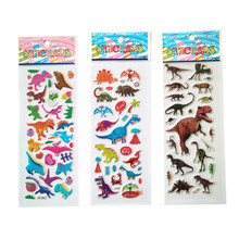 3PCS / lot Mixed Cartoon dinosaur Bubble Stickers Children Kids Boys girls Cartoon Stickers Decoration birthday gift for(China)