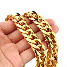 "Granny Chic Mens Gold Tone 100% Pure Stainless Steel Horsewhip Link Necklace Chain Cool Strong Jewelry 16mm7""-40"""