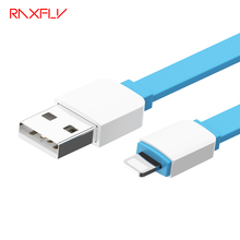 RAXFLY Noddle Flat USB Cable For iPhone 6 7 iPad 2.1A Transmission to USB Charger Cable Data Sync Durable Wire For iPad Mini Air