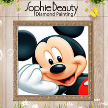2017 Rushed New Europe Resin Mosaic Diamond Painting Pictures Of Diamonds By Numbers For Mickey Mouse Smile Embroidery Kit(China)