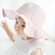 Moeble Kids Pink Sun Hat Summer Cotton Bucket Hat Toddler & Children Girls Brim Beach Hat With Wide Brim 1pc H835(China)