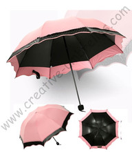 6pcs/lot colour option super light folding mini umbrella 5 times black coating Anti-UV two layers meat pink lace parasol(China)