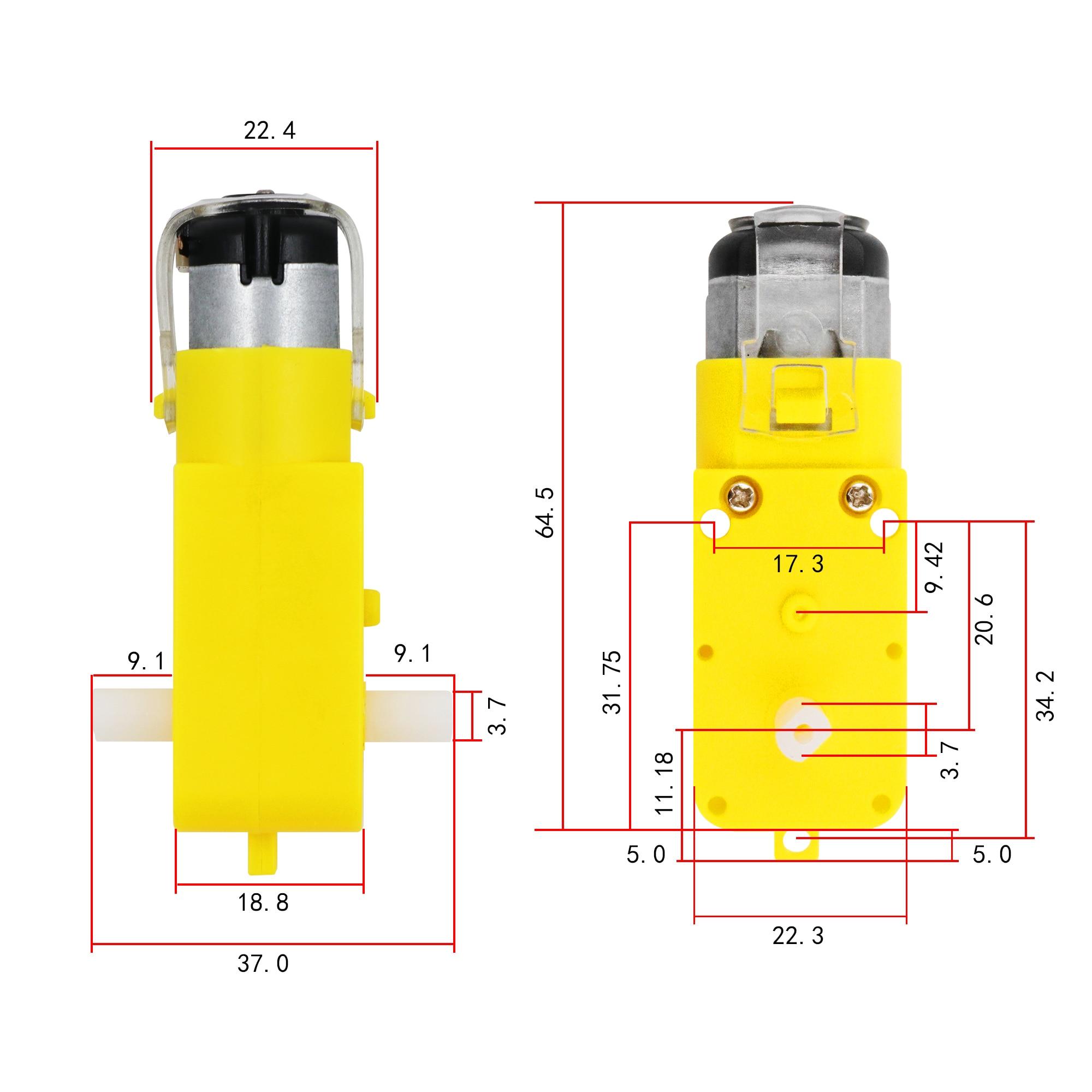 4 Piezas De Ruedas De Neum/áticos De Pl/ástico Para Arduino Robot Coche Inteligente Con Dc3v-6v Reductor De Engranajes De Motor 4pcs