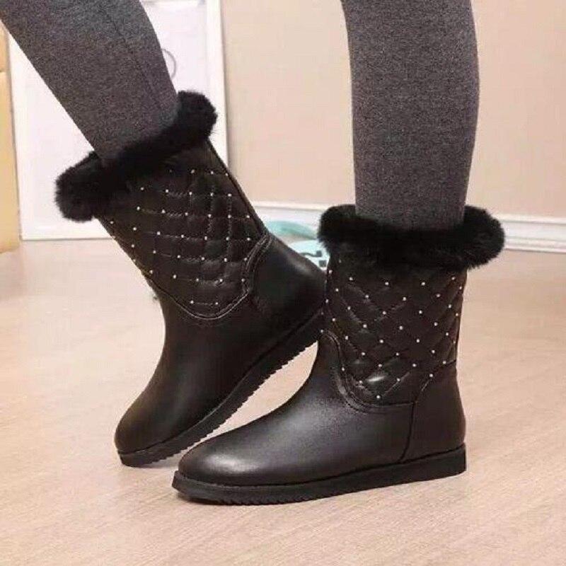 Sheepskin Snow Boots Women Winter Boots Plus Size 35-40 Waterproof Warm Cotton-Padded Shoes Luxury Rhinestone Botas Feminina<br><br>Aliexpress