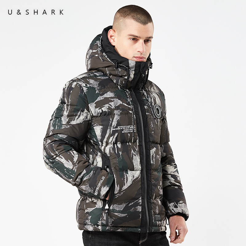 U&SHARK Winter New Mens Camouflage Parka Jacket Coat Men Brand Clothing Thick Padded Fashion Military Warm Overcoat Jacket Parka