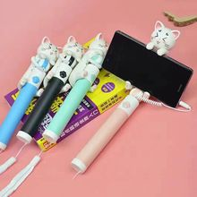 Mini Universal Cute Cat Selfie Stick With Button Wired  Handle For All Smartphone