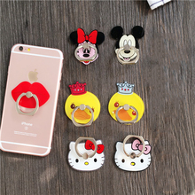 Cute Cartoon Finger Ring Holder Universal Bow Bear Kitty Minnie Mobile Phone 3D Metal Stander Finger Grip for iPhone Smart Phone