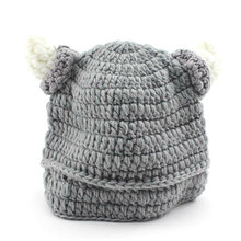 Cool!Gray Color Bull Horn Design Cute Baby Kids Infant Crochet Hat Knit Newborn Beanie Photograph Pro