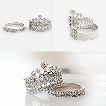 Women's Fashion Queen Crown Pattern Ring Set Rhinestone Two-piece Rings Jewelry