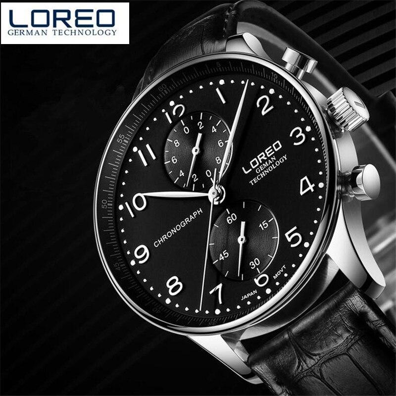 LOREO Original Luxury Military Quartz Watches Men Hour Clock Business Leather Wristwatch relogio masculino Christmas gift O91<br>