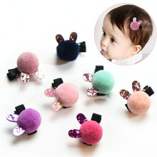 Korean Limited Rushed Flower Crystal Hair Clip Kids Full Ball Rabbit Hair Accessories Boutique Barrettes Girl Gift Duck 4 Pcs(China)