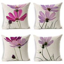 wholesale High quality Small fresh pink flowers Cosmos wedding gift office Cushion cover Decorative home sofa car Pillow case
