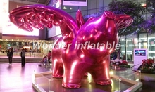 Customized giant red shinning inflatable flying pig with wings for display