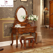 Ancient European style dresser American country wood bedroom furniture makeup table dressing table(China)