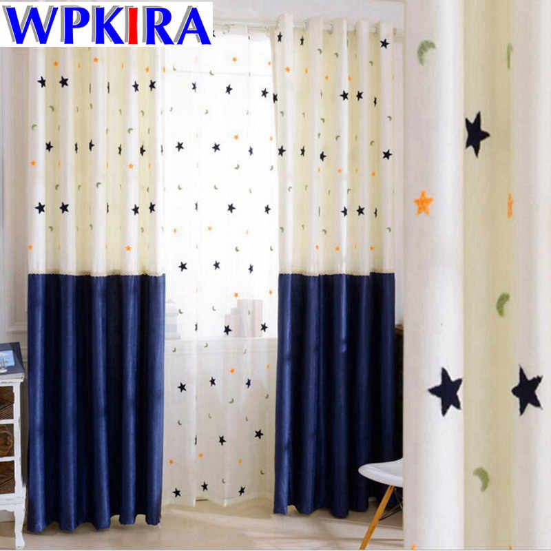 Blue Curtains for Room Boys Child Blue Bedroom Tulle Stitch Curtains Design Patchwork Star Window Curtains Balcony HC022-30