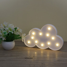 3D Marquee Cloud Night Lamp with 11 LED Battery Operated White Cloud Letter Light for Christmas Decoration Kid's Gift