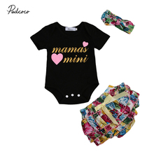 Newborn Baby Girls Mini Mom Romper Icing Shorts Headband Print Short Sleeve Girl Clothing Set Outfits Clothes(China)