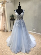 Buy Vestido de noiva New Cheap Wedding Dress 2018 V-Neck Sleeveless A-Line Court Train Appliques Tulle Backless China Bridal Gowns for $193.59 in AliExpress store