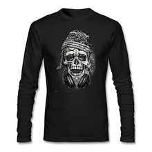 Mens Snowboarder Skull with Headphones and Beanie t-shirt musical printed Tops for teenage Long sleeved Funky t shirts Hot Sale(China)