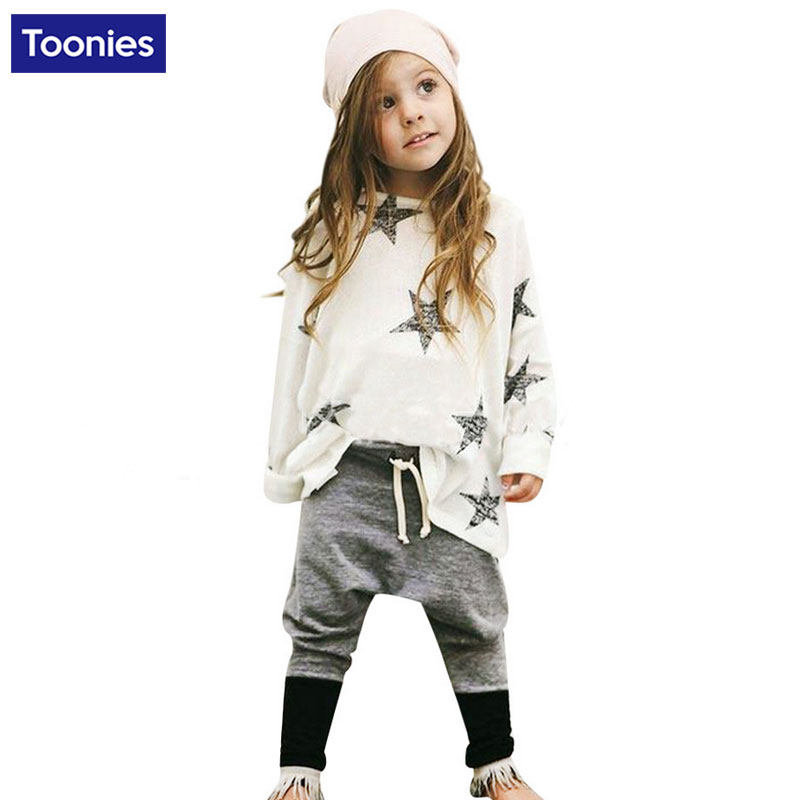 Baby Girls Clothing Sets Autumn Spring Cotton Geometric Stars Shirt+ Leisure Pants Kids Clothes Set Toddler Fashion Track Suits<br><br>Aliexpress