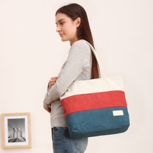 Striped Canvas Tote Bag 2016 Women Casual Shoulder Bags Patchwork Totes Shopping Brand Designer Women's Handbags Wholesale