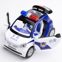 New 1:32 Toy Car Bz Smart police Metal Alloy Diecast Car Model Miniature Scale Model Sound&Light Model Car Toys For Children(China)