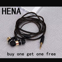 HENA Buy one get one free MP3 MP4 Wiring Subwoofer Headset Rope Earplug bassbuds Earphone Braided Rope Wire Cloth earphones
