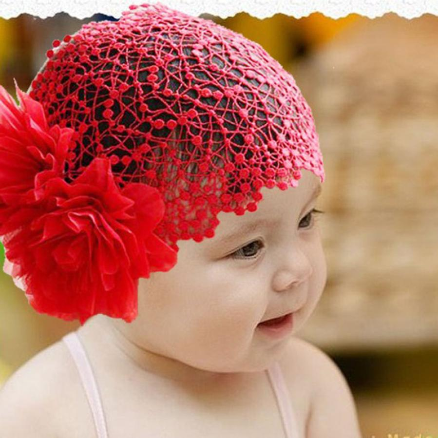 babay Bangs hair band Flower Toddlers Girl Lace Headband cotton fabrics cute Red Hair Band Headwear Hat 36cm-45cm(China)