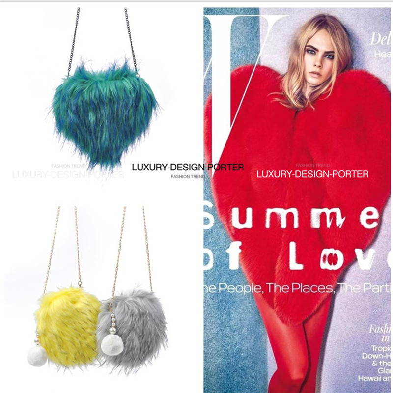 Trendy Multi color Faux Fur 2 tone long hair Runway Chain Purse Chic IT bag<br><br>Aliexpress