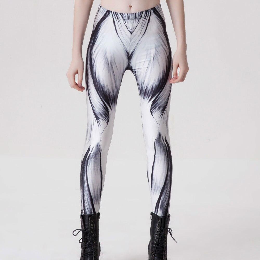Womens Harajuku Workout Muscle Printed Black White Fitness Leggings ...